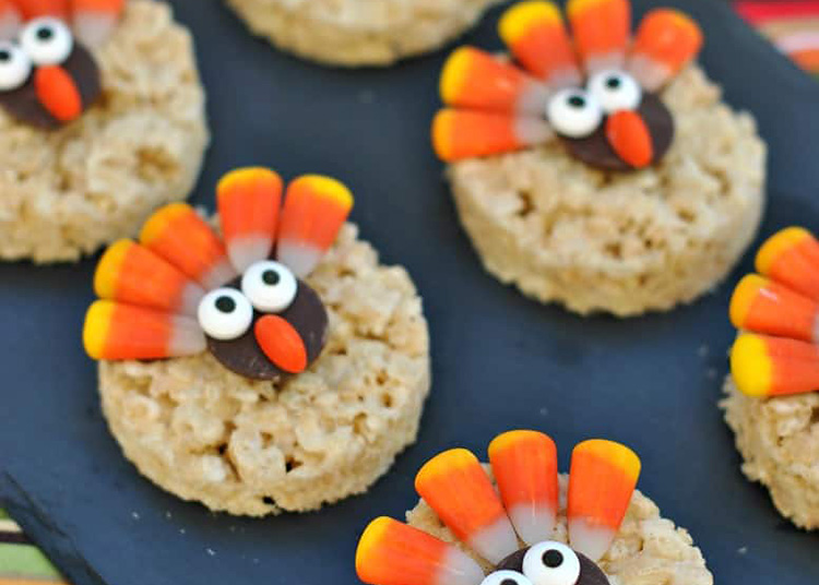 Make an easy Rice Krispie treat Thanksgiving food ideas. | The Dating Divas