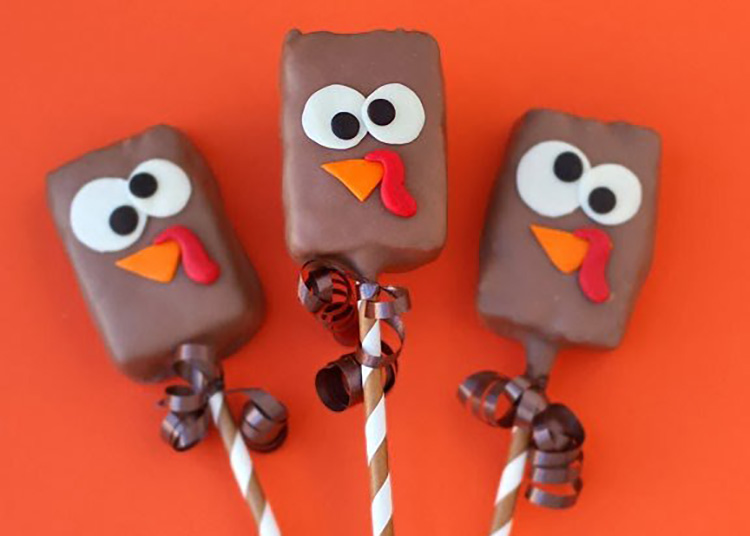 Fun Thanksgiving food ideas with chocolate dipped turkey pops. | The Dating Divas