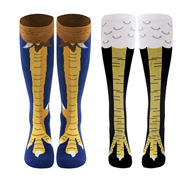 Socks with images of chicken's legs - a funny white elephant gift idea | The Dating Divas