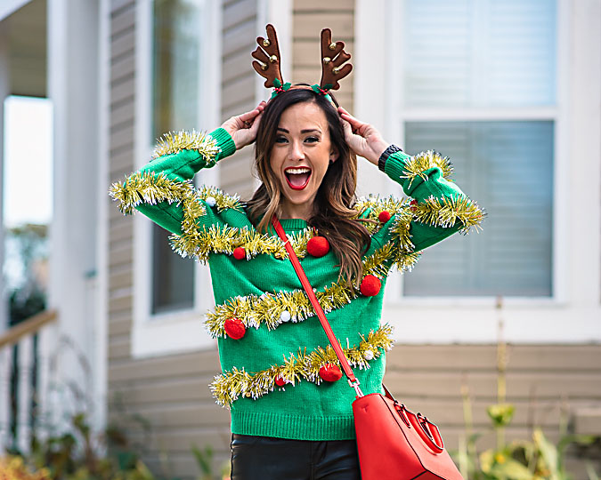 Tinsel-wrapped ugly Christmas sweater Idea | The Dating Divas