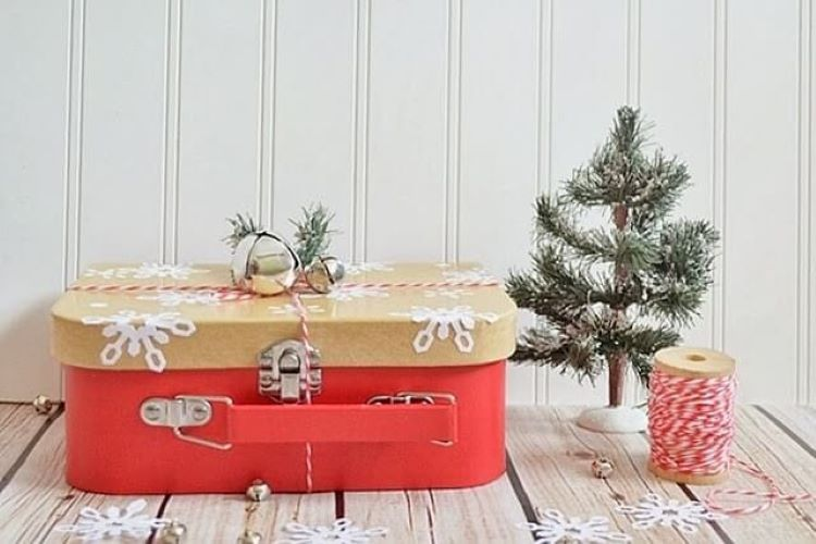 A homemade advent calendar gift that is inside a snowflake decorated lunchbox | The Dating Divas