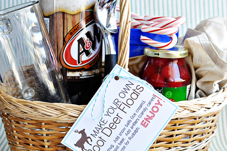 A basket filled with supplies to make root beer floats | The Dating Divas