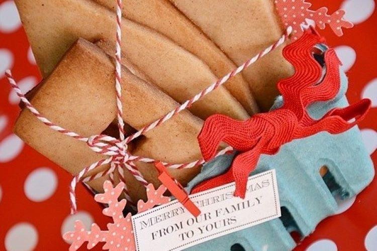 Gingerbread house pieces wrapped together with string and a gift tag | The Dating Divas