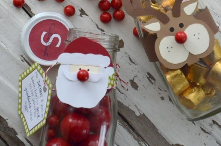 Santa and Rudolph themed candy jars to be used as DIY Christmas gift in 2020 | The Dating Divas