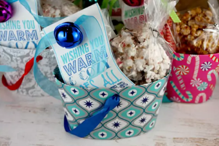 Three gift baskets that are filled with Christmas treats and a fun Christmas poem   The Dating Divas