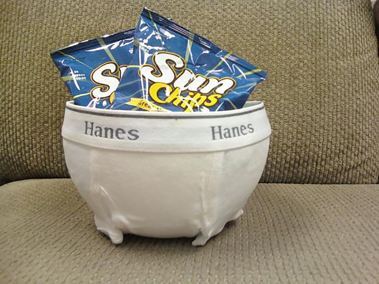 A DIY white elephant gift idea - a bowl with men's underwear wrapped around it | The Dating Divas