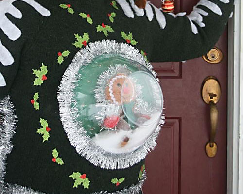 A Clear Bowl as a Snow-globe on an Ugly Christmas Sweater | The Dating Divas