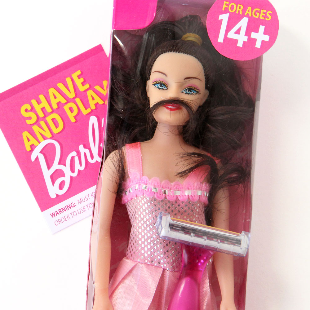 A barbie doll with extra hair added to her face and armpits - a fun DIY white elephant gift idea | The Dating Divas