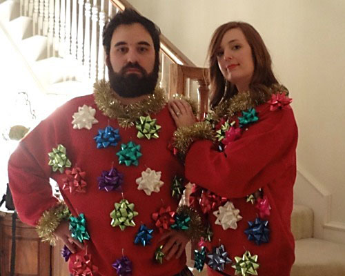 Repurpose Gift Bows for an Ugly Christmas Sweater | The Dating Divas