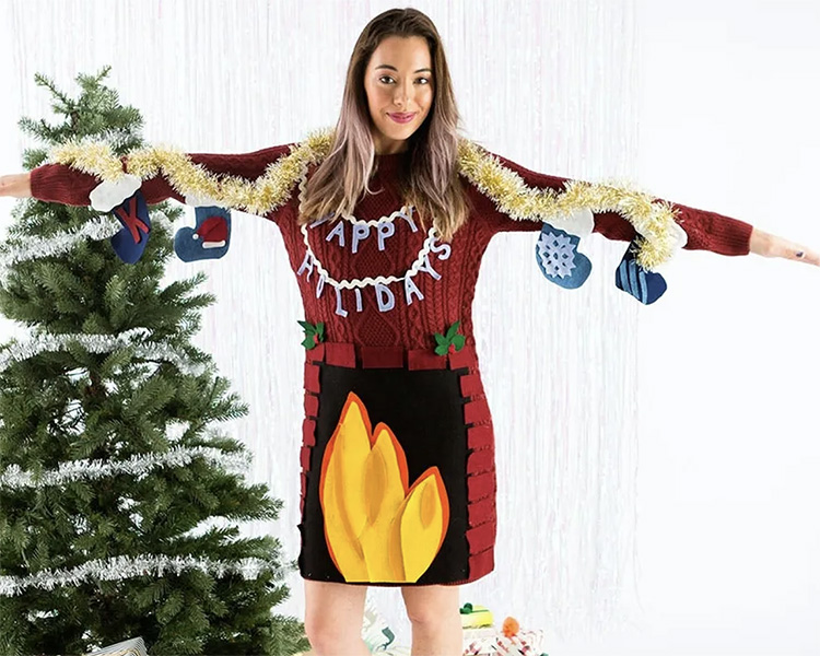 DIY Fireplace Ugly Sweater Dress That Uses Your Arms as the Mantel for Stockings | The Dating Divas