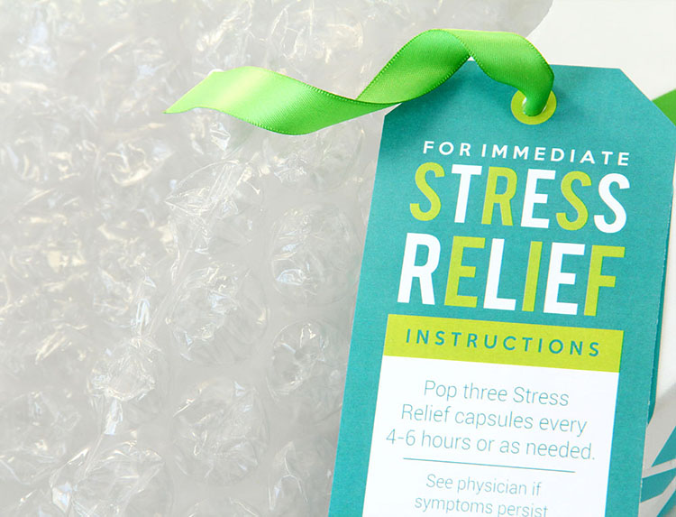 """Bubble wrap gag gift idea with printable tag label """"for immediate stress relief"""" 