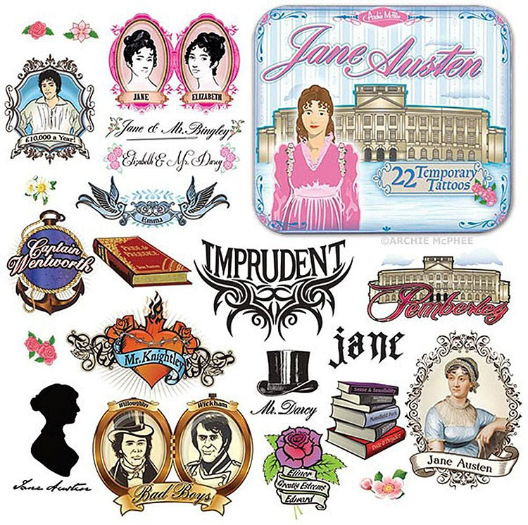 Temporary tattoos with images and phrases from Jane Austen's books | The Dating Divas