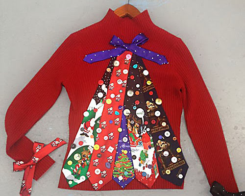 An Ugly Christmas Sweater With Christmas Ties Making a Tree | The Dating Divas