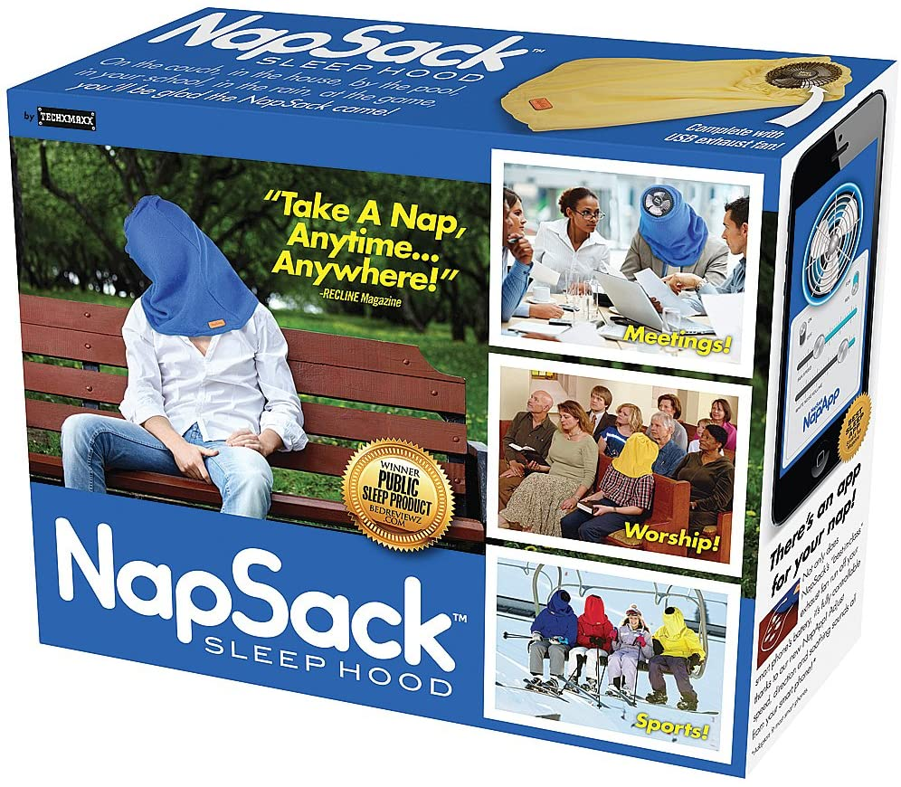 A prank gift box giving the appearance that the gift is a bag to put over your head in order to nap in unique places | The Dating Divas