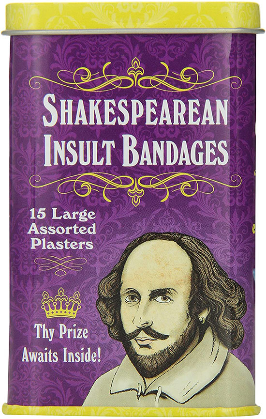 Box of bandaids with Shakespearean sayings - a funny white elephant gift | The Dating Divas
