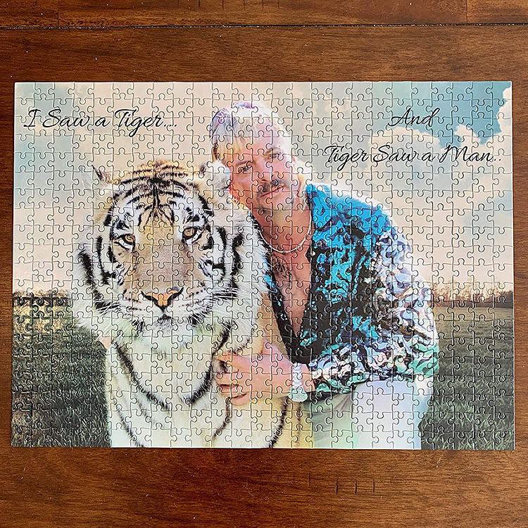 Tiger King, Joe Exotic, with a tiger featured on a puzzle | The Dating Divas