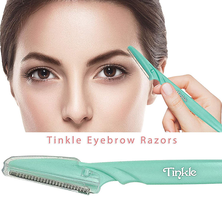 A woman uses the tinkle razor to remove hair from her face - a useful gift idea | The Dating Divas