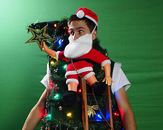 Santa Tipping Over the Christmas Tree Ugly Christmas Sweater Contest Winner | The Dating Divas