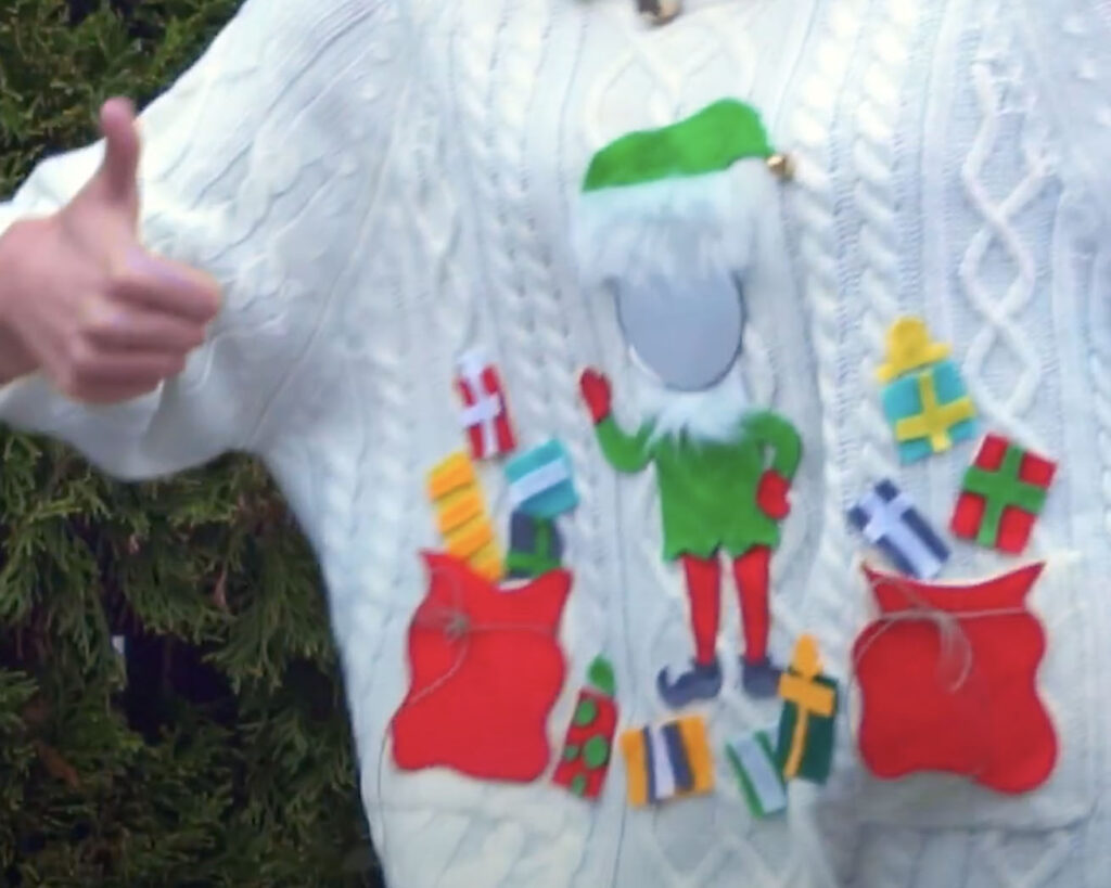 DIY Ugly Sweater Idea for Elf-Themed Sweater with Presents | The Dating Divas