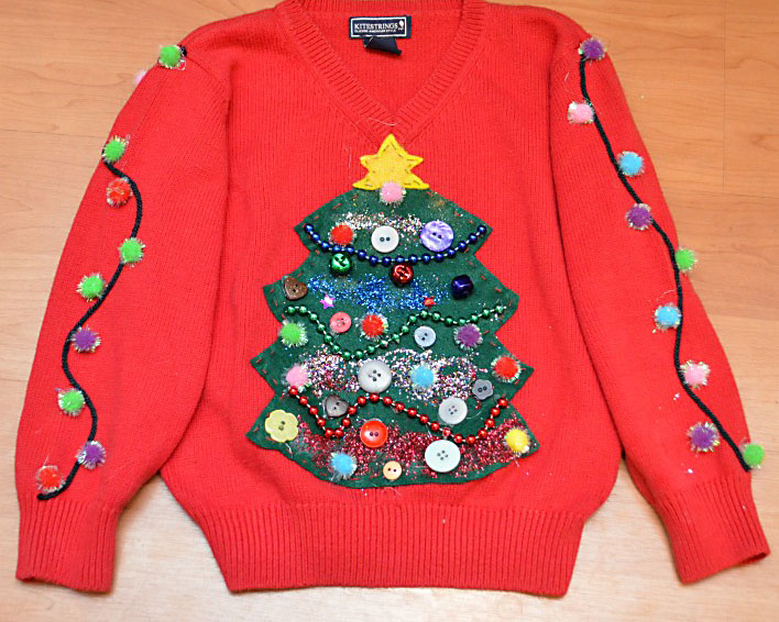 Decorate a Sweater with a Tree, Pom Poms, and Glitter | The Dating Divas