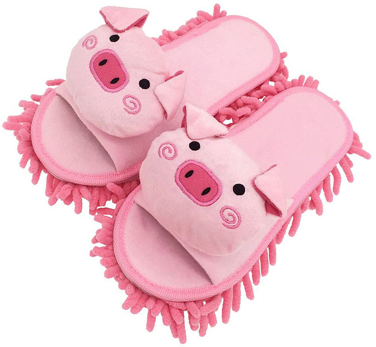 Pink pig slippers used for cleaning the floor - a helpful white elephant gift | The Dating Divas