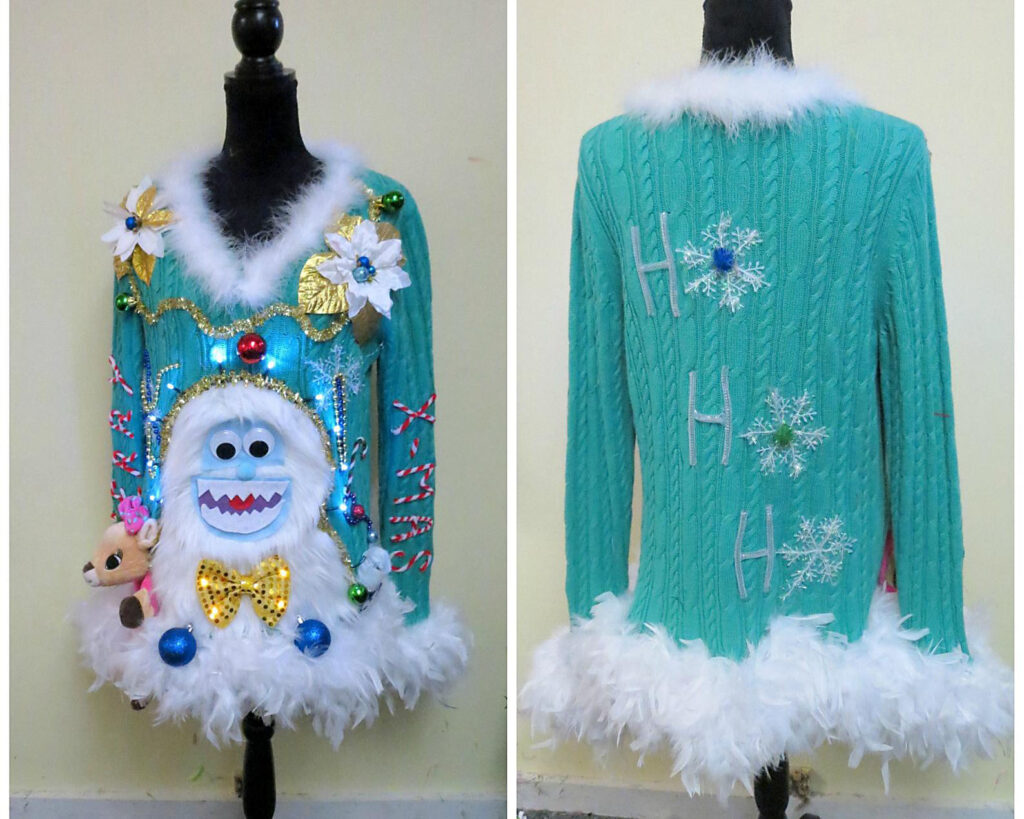 Yeti-Themed Ugly Christmas Sweater Idea | The Dating Divas