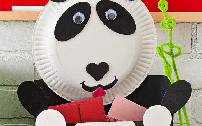 Black and white panda box for holding Valentine's Day cards | The Dating Divas