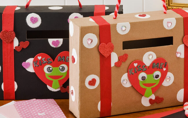 "Valentine boxes with Kermit the Frog that says ""Kiss me"" 