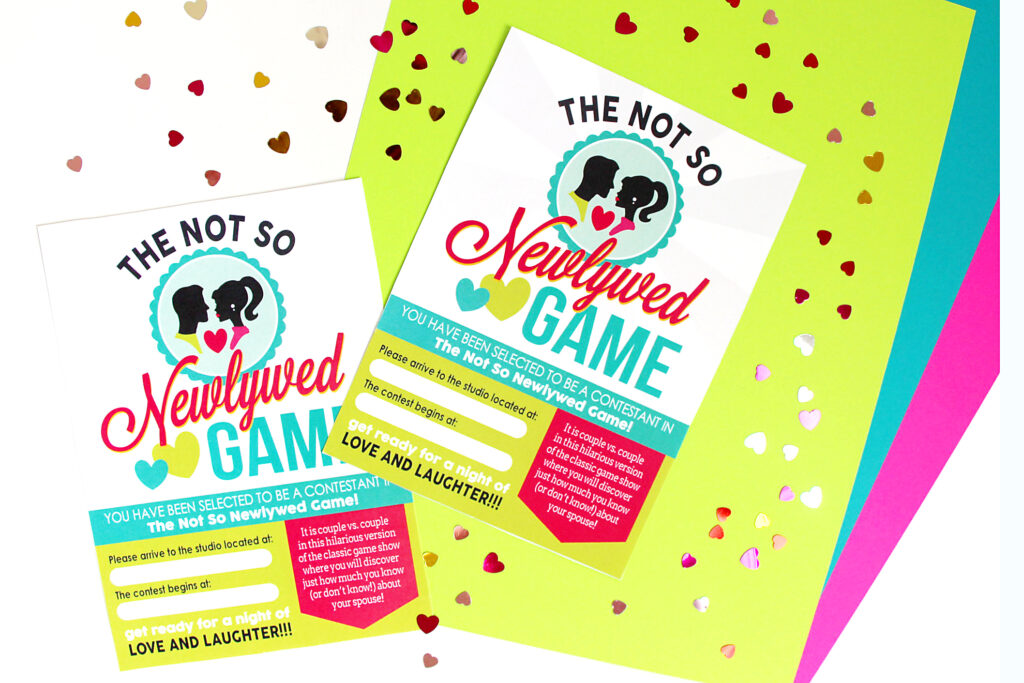 Bright colored invitations for a couples game night with confetti hearts all around | The Dating Divas