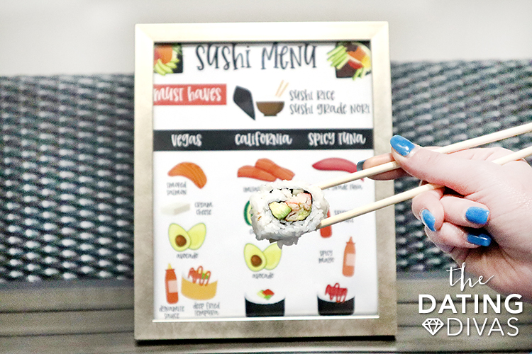 Sushi menu printable of sushi must haves to make at home. | The Dating Divas