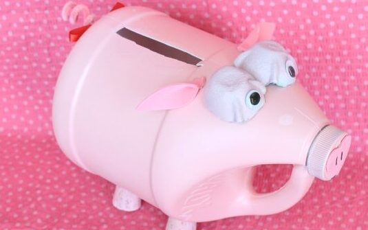 Pink piggy Valentine's Day box made from a jug of paint and egg carton eyes | The Dating Divas