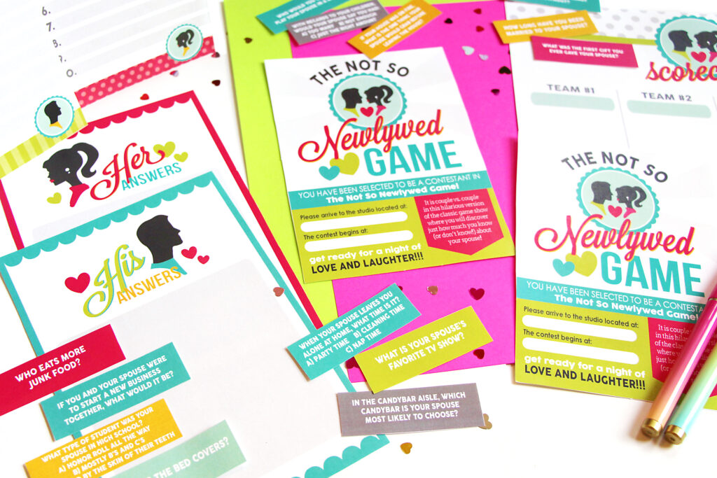 Bright Not So Newlywed game printables with invitations, answer cards, and dating game question cards | The Dating Divas
