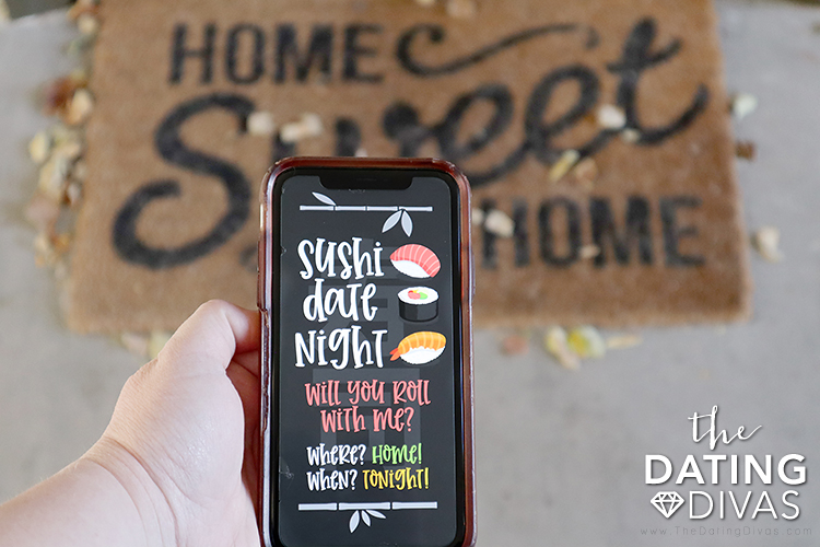 Digital Invite to send to your sweetheart for at home sushi date. | The Dating Divas