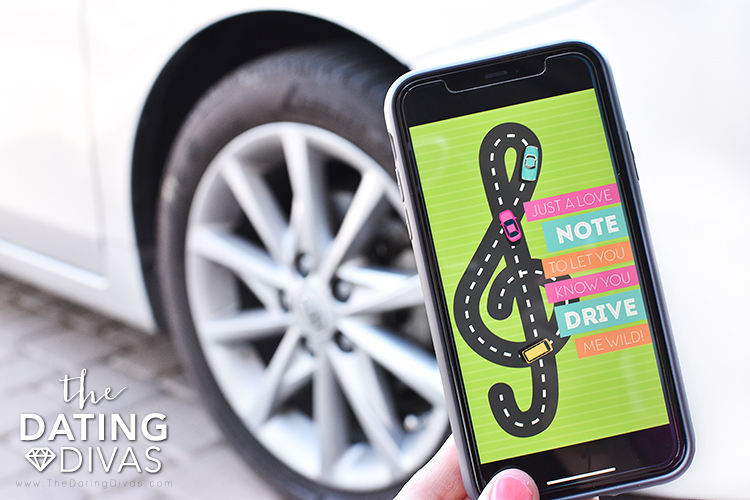 Digital invitation on a phone for a car date night. | The Dating Divas