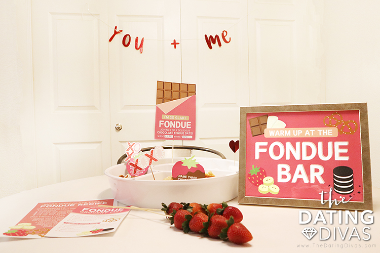 Chocolate fondue printables set up for a romantic date night at home | The Dating Divas