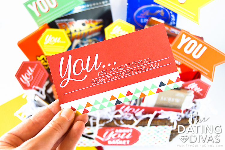 Gift tag and a basket full of thoughtful gifts all about him | The Dating Divas