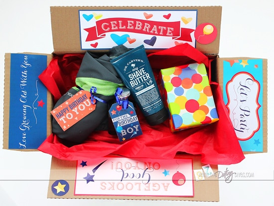 Birthday box full of thoughtful gifts for him | The Dating Divas