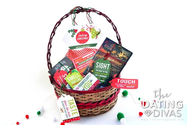 Christmas basket gift themed around the 5 senses | The Dating Divas