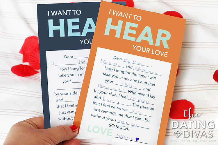 Wife holding free printables for a 5 senses date night theme | The Dating Divas