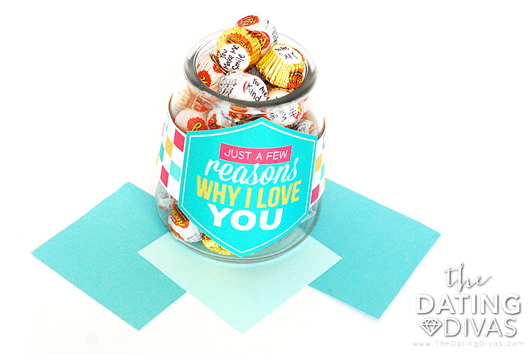A candy jar filled with messages of love | The Dating Divas