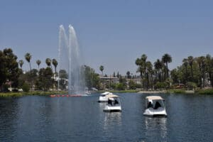 Man and woman enjoying their date at Echo Park in Los Angeles.   The Dating Diva