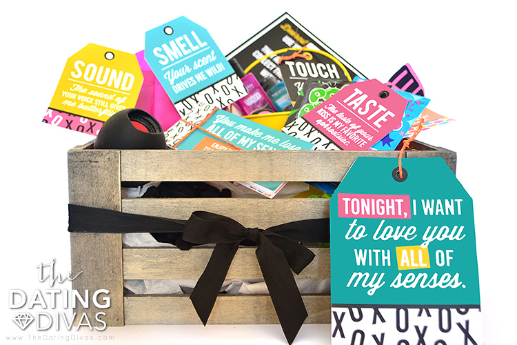 Wooden crate with gifts all about the 5 senses | The Dating Divas