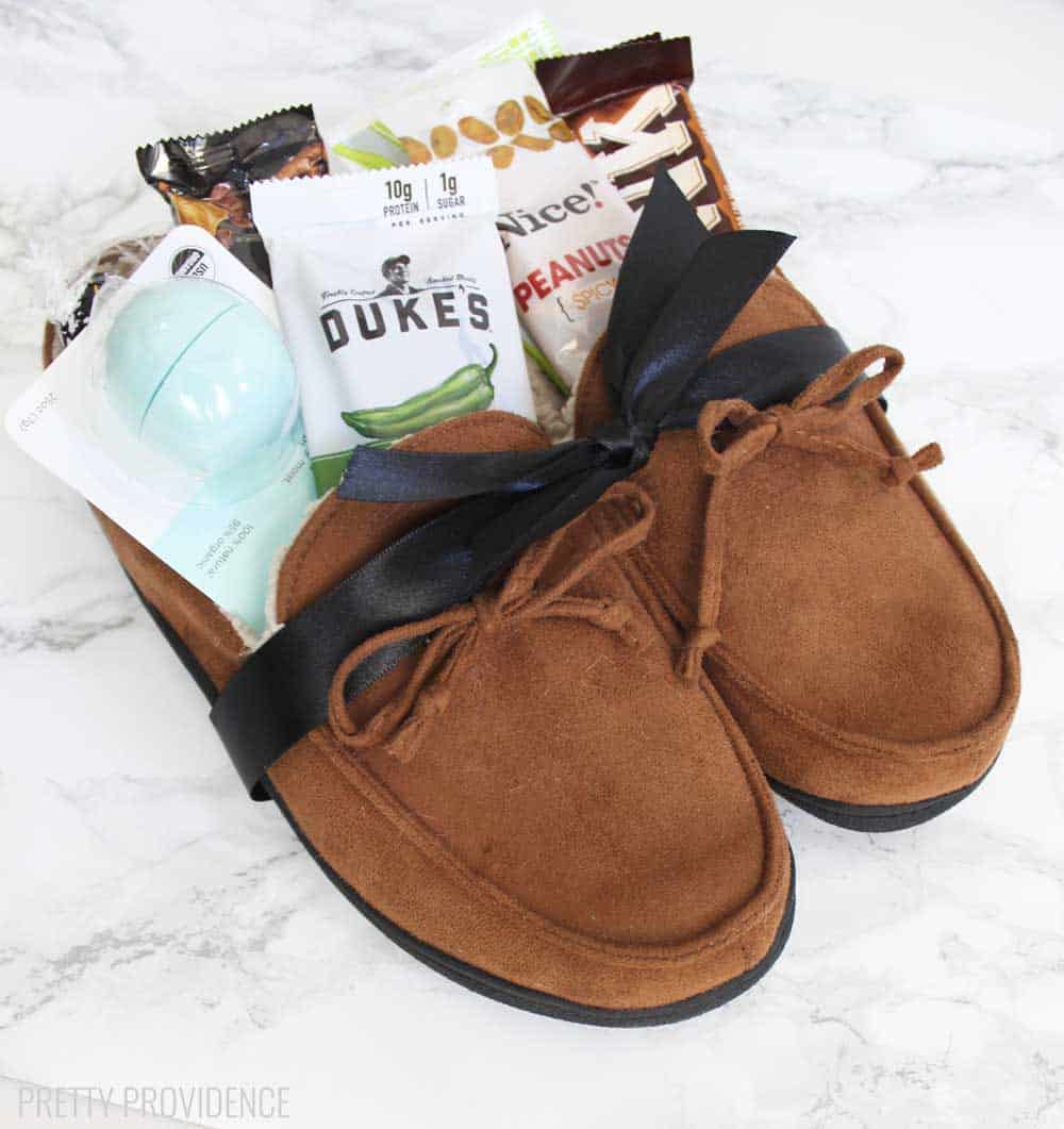 Cozy slippers filled with thoughtful gifts for men | The Dating Divas