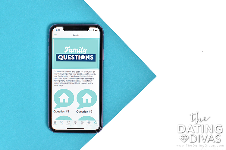 Phone screen displaying the main home page screen for family questions | The Dating Divas