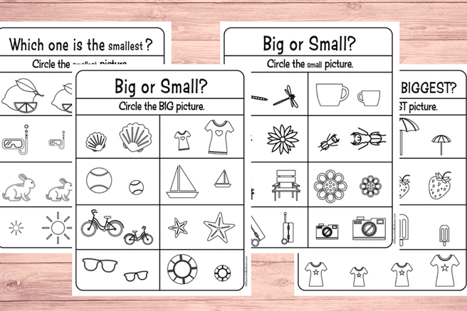 Big and small comparison worksheets for preschool | The Dating Divas