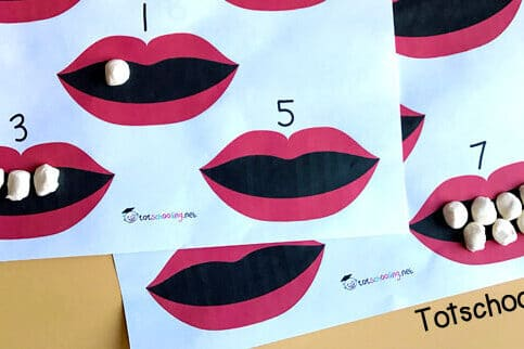 Counting with teeth preschool worksheets | The Dating Divas