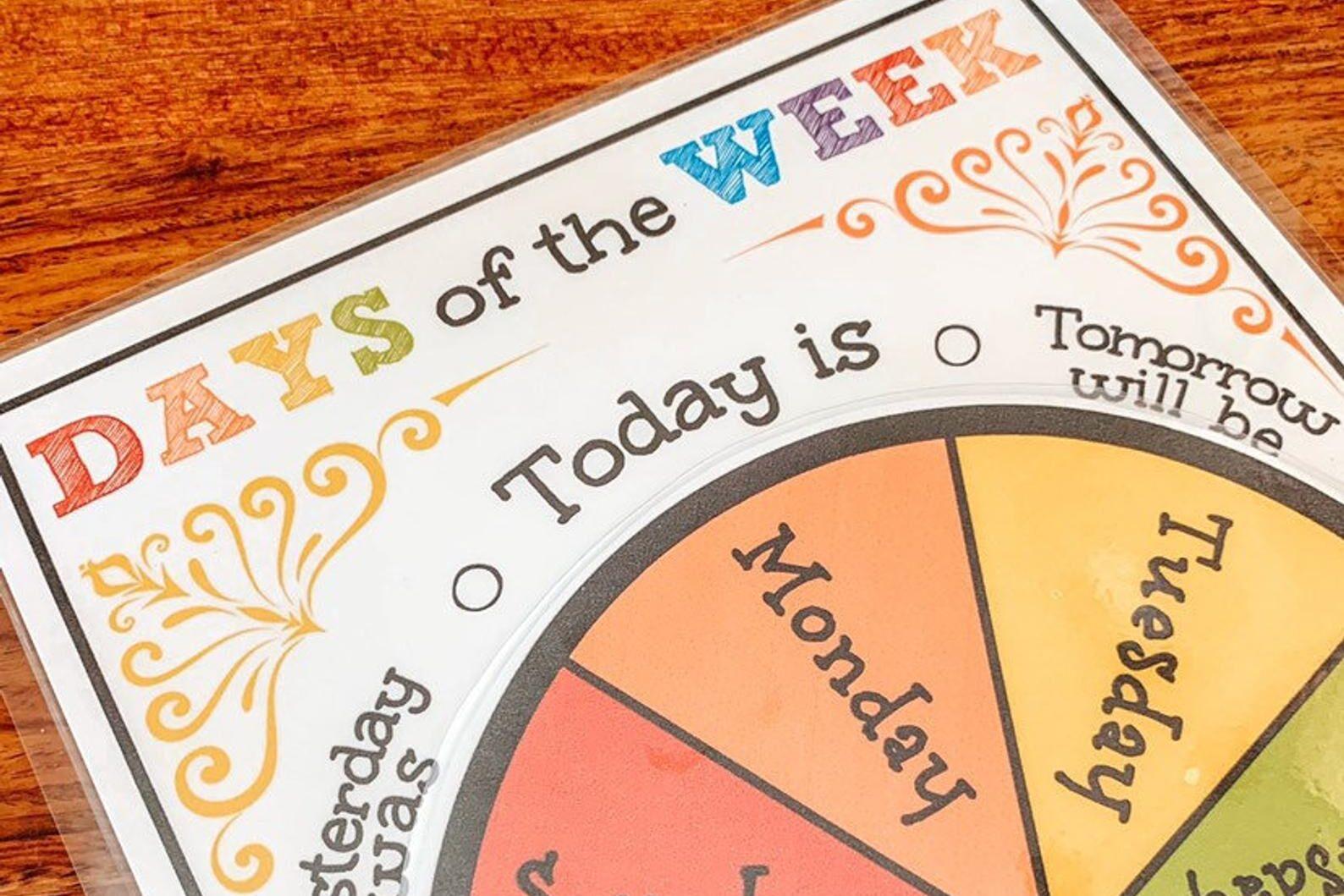 Day of the week printable preschool worksheets | The Dating Divas