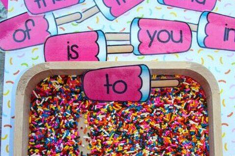 Sprinkle bar sight word activities for preschoolers | The Dating Divas