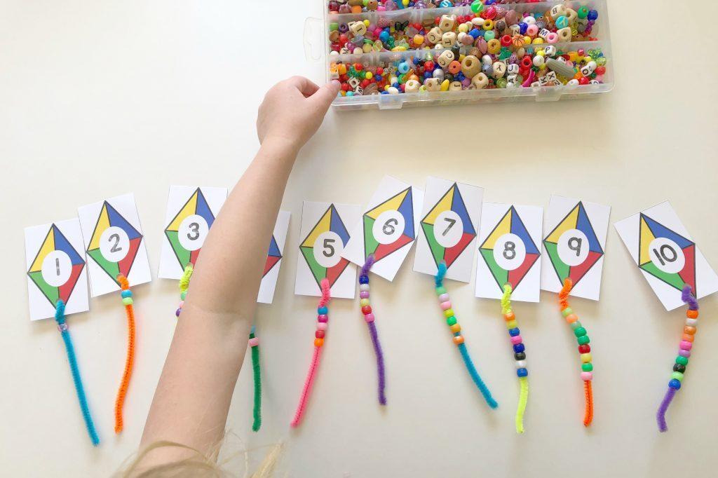Preschool activities using kites and beads | The Dating Divas