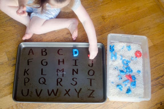 Toddler activities that use magnets and letters | The Dating Divas
